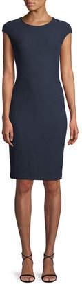St. John Ana Cap-Sleeve Boucle Knit Sheath Dress