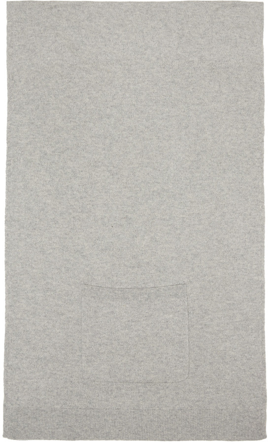 T by Alexander Wang Grey Cashwool Patch Pocket Scarf
