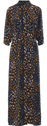Equipment Belted Printed Washed-Silk Maxi Shirt Dress