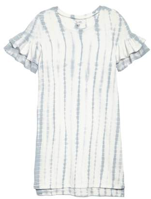 Love, Fire Ruffle Sleeve Sweatshirt Dress