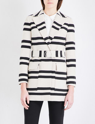 French Connection Escher striped cotton-blend mac $189 thestylecure.com