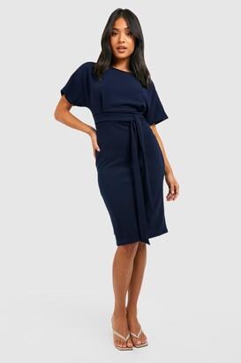 boohoo Petite Tie Waist Formal Wiggle Midi Dress