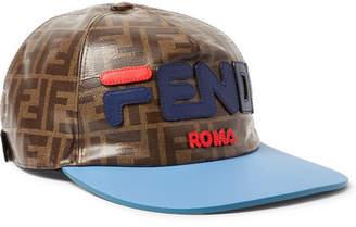 Fendi Leather-Trimmed Logo-Appliquéd Printed Coated-Canvas Baseball Cap