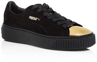 PUMA Suede Metallic Cap Toe Platform Sneakers $100 thestylecure.com