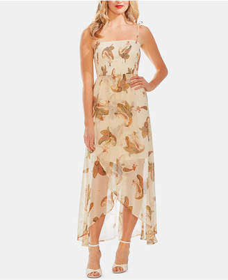 Vince Camuto Smocked Faux-Wrap Maxi Dress