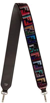 Fendi Strap You Logo Print Velvet Bag Strap - Womens - Black Multi