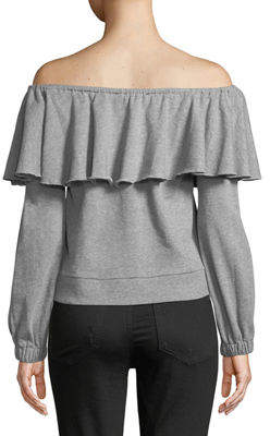 Romeo & Juliet Couture Off-The-Shoulder Ruffle Sweatshirt