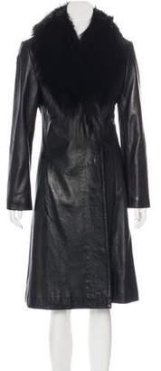 St. John Fur-Trimmed Leather Coat