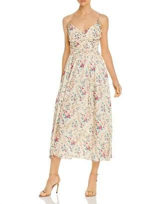 Jill Stuart Ruched Floral Midi Dress