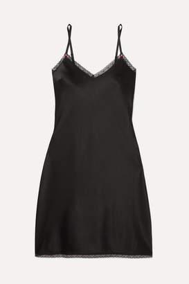 Morgan Lane - Sienna Lace-trimmed Silk-blend Satin Slip - Black