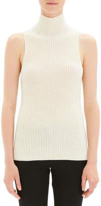 Theory Plaited Sleeveless Knit Turtleneck Sweater