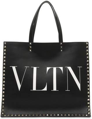 Valentino Vltn Leather Tote Bag