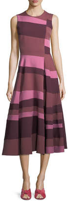 Roksanda Colorblock Full-Skirt Midi Dress