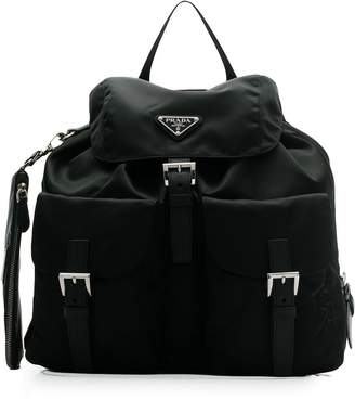 Prada buckled nylon backpack