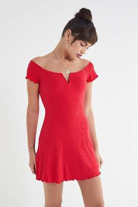 Urban Outfitters Nicki Off-The-Shoulder Notch Neck Mini Dress