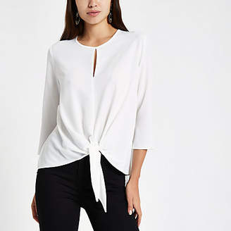 River Island Womens White front long sleeve top