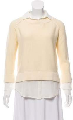 Brochu Walker Rib Knit Silk-Trimmed Top