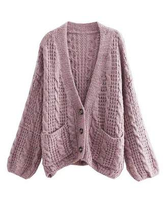 Goodnight Macaroon  Lavender  Cable Knit Button Down Oversized Cardigan 5af7ba4d6