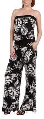 24/7 Comfort Apparel 24Seven Comfort Apparel Women's Chrissy Black Feather Pattern Strapless Jumpsuit
