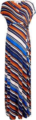 Dorothy Perkins Womens **Maternity Multi Colour Stripe Print Wrap Nursing Maxi Dress