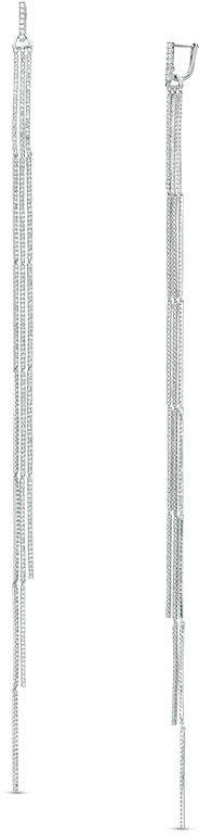 Zales Vera Wang Love Collection 2-1/2 CT. T.W. Diamond Cascading Linear Drop Earrings in Sterling Silver