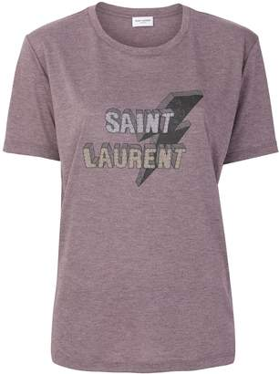 Saint Laurent Lighting Bolt Printed T-Shirt
