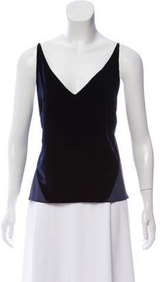 J Brand Sleeveless Velvet Paneled Top