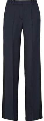 Pallas Amundsen Satin-Trimmed Grain De Poudre Flared Pants