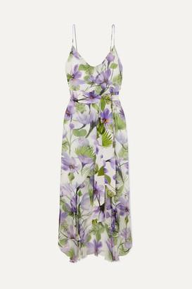 Alice + Olivia Alice Olivia - Tevi Ruffled Printed Georgette Midi Dress - Lilac