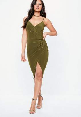 Missguided Khaki Strappy Slinky Wrap Bodycon Dress