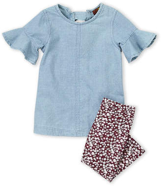 7 For All Mankind Infant Girls) Two-Piece Ruffle Chambray Top & Floral Leggings Set