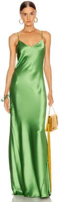 Galvan Satin V Neck Slip Dress in Jungle Green   FWRD