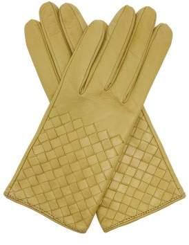 Bottega Veneta Intrecciato Leather Gloves - Womens - Green