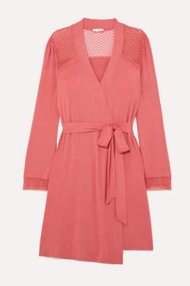 Eberjey Addison Crocheted Lace-paneled Stretch-modal Robe - Antique rose
