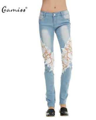 Gamiss Womens Distressed Ripped Pants Denim Jeans Lace, Casual Flower Lace Insert Low Waist Jeans Hollow Out Long Pencil Trousers