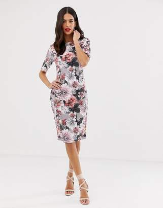 Paper Dolls floralhigh neck short sleeve midi dress
