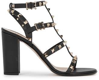 Valentino Rockstud 90 Black Leather Sandals