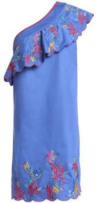 Saloni One-Shoulder Ruffled Embroidered Cotton-Blend Mini Dress