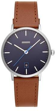 Uri Minkoff Norrebro Stainless Steel Tone Saddle Leather Strap Watch, 40MM