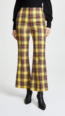 Pushbutton Plaid Crop Flare Pants