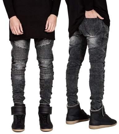 willing boy Trendy Designed Straight Pants Casual Men Jeans Slim Elastic Denim Trousers Grey Size33