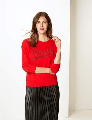 Marks and Spencer Pure Cotton Sparkly Round Neck Sweatshirt