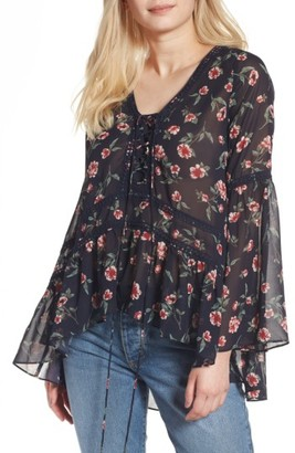 Women's Moon River Floral Print Chiffon Tunic $75 thestylecure.com