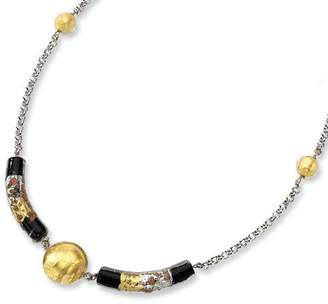Murano Gold and Watches Sterling Silver Glass Bead & Onyx Necklace