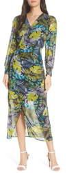 Sam Edelman Tropics Long Sleeve Chiffon Midi Dress