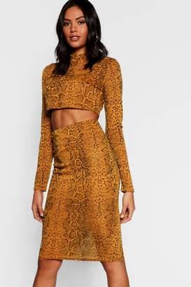 boohoo Snake Print Knitted Crop Midi Skirt Co-ord