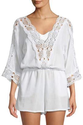 LaBlanca La Blanca Island Goddess Crochet V-Neck Coverup Romper, Plus Size