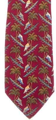 Salvatore Ferragamo Tropical Print Silk Tie