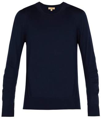Burberry - Check Insert Merino Wool Sweater - Mens - Navy