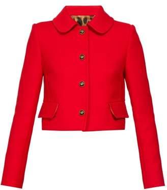 Dolce & Gabbana Cropped Peter Pan Collar Wool Crepe Jacket - Womens - Red